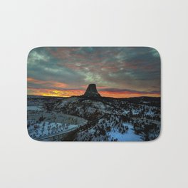 Devil's Tower, Black Hills, Wyoming Sunset Landscape Bath Mat