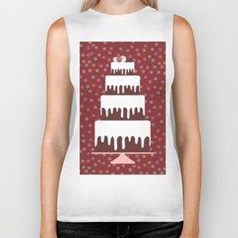 Card design - Birthday, valentine's day, wedding, engagement. Sweet cake, white cream chocolate cake Biker Tank