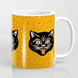 Vintage Type Halloween Black Cat Face Stars Orange Coffee Mug
