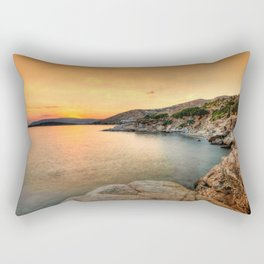 The sunset at Agios Kyprianos in Andros, Greece Rectangular Pillow