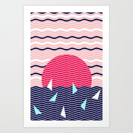 Hello Ocean Sunset Waves Art Print