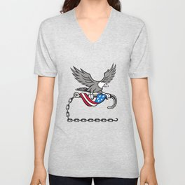 American Eagle Clutching Towing J Hook Flag Drape Retro Unisex V-Neck