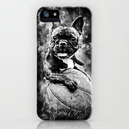 french bulldog basketball splatter watercolor black white iPhone Case