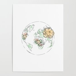 world map pink , the globe of the earth and flowers, home decor, graphic design 2 Poster