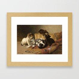 cute kitten 4 – John henry Dolph – playing kittens -pet,whikers,cat,kitty,kitten Framed Art Print