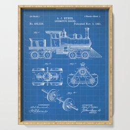 Train Locomotive Patent - Steam Train Art - Blueprint Serving Tray