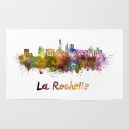 La Rochelle skyline in watercolor Rug