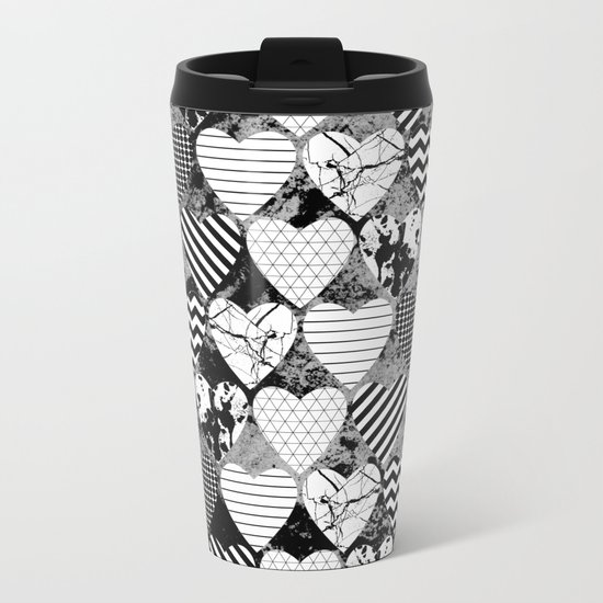 Textured Black And White Hearts - Abstract, geometric pattern Metal Travel Mug