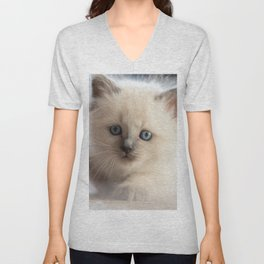 #Kitten #starts #sneaking up #early Unisex V-Neck