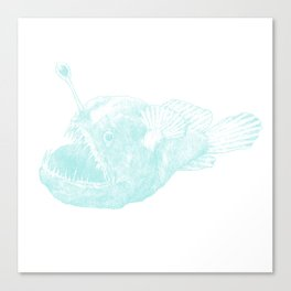 Black seadevil - blue Canvas Print