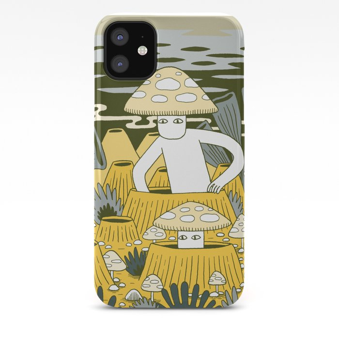 Mushrooms in Yellow iPhone 11 case