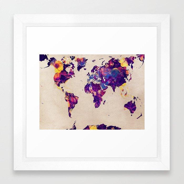 world map 20 #map #world Framed Art Print by jbjart | Society6