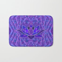 Blue and Purple Lotus Floral Tribal Print Bath Mat