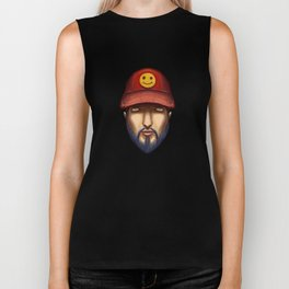 Bearded Man With a Red Cap Yellow Smiley Biker Tank