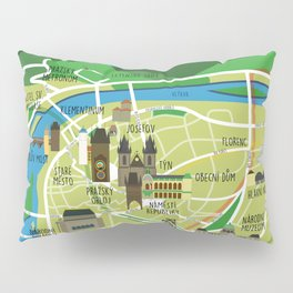 Prague map illustrated Pillow Sham
