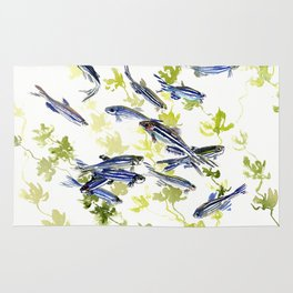 Fish Blue green fish design zebra fish, Danio aquarium Aquatic design underwater scene Rug