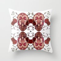 in the flesh Throw Pillows featuring Flesh&Roses by AP Illustration