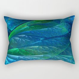 Sea Glass 3D Flame Fractal Rectangular Pillow