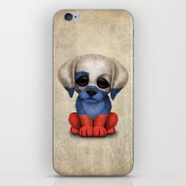 Cute Puppy Dog with flag of Slovenia iPhone Skin