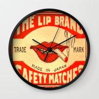 lip Wall Clocks featuring Lip Service by Wanker & Wanker