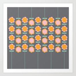 retro flowers pattern in grey Art Print