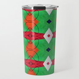 Colorful Pattern Green Red Orange Blue Travel Mug