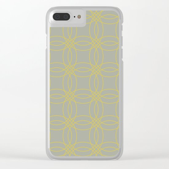 Simply Vintage Link in Mod Yellow on Retro Gray Clear iPhone Case
