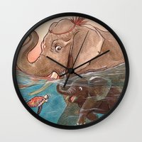 elephants Wall Clocks featuring Elephants by Paloma  Galzi