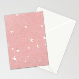 Pink star with fabric texture - narwhal collection Stationery Cards