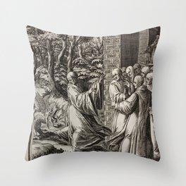 St. Bernard with Dragon Throw Pillow