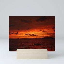 Scenic View Of Sea Against Orange Sky during sunset in Thailand Mini Art Print