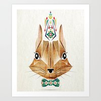 squirrel Art Prints featuring squirrel by Manoou