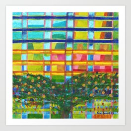 Tree In Front Of A Building Art Print