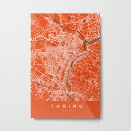 TORINO Map - Italia | Tomato | More Colors, Review My Collections Metal Print