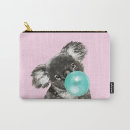 Playful Koala Bear with Bubble Gum in Pink Carry-All Pouch