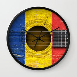 Old Vintage Acoustic Guitar with Romanian Flag Wall Clock