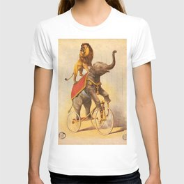 1880 Circus Show Elephant Riding a Bicycle with Lion on its back poster T-shirt