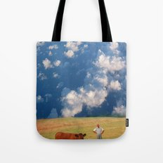 How Now Brown Cow #1 - What's that man doing in my field? Tote Bag