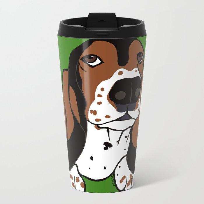 A Dog Mom and Her Basset Hound Metal Travel Mug