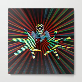 7329-KMA Hands Outstretched Scary Figure Reaching Out Striped Abstract Metal Print