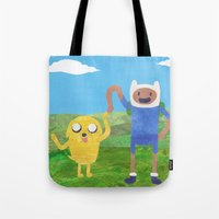 finn and jake Tote Bags featuring Finn And Jake! by Ben Morgan