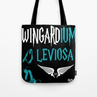 chad wys Tote Bags featuring WINGARDium Leviosa (Chad Wingard - AFL Mark of the Year) by morethanasport