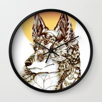 kitsune Wall Clocks featuring Kitsune by South Spire Seven