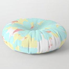 Primroses and flamingos Floor Pillow