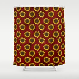 Red Sunflowers Shower Curtain