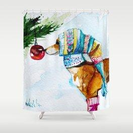 Xmas Greyhound Shower Curtain