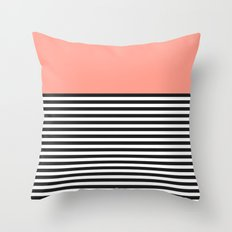 STRIPE COLORBLOCK {CORAL} Throw Pillow