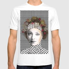 Dots Woman MEDIUM White Mens Fitted Tee