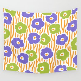 Mid Century Modern Wild Flowers Purple and Green 391 Wall Tapestry