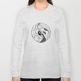 cute Yin Yang with funny sleeping cat and girl Long Sleeve T-shirt